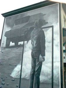Derry wall mural of 'typical Saturday afternoon riot' during 1970's