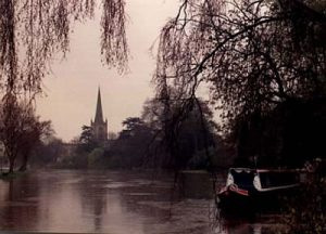 Trinity Church on River Avon in winter 2