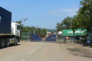 Cargo trucks waiting to clear customs in Zambia to cross
