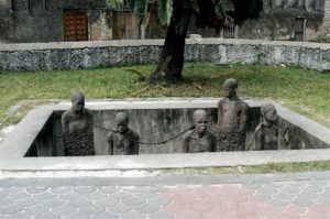 """Anglican Christ Church Cathedral and Slave Market Memorial. """"The world's last"""