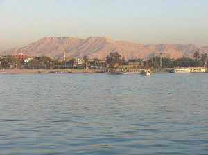 Looking across the Nile River to the hills of the