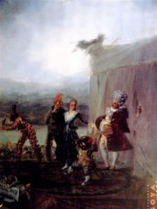 Old painting depicting a theatrical scene