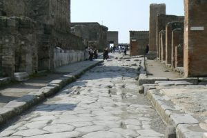 Italy - Ruins of Pompeii Central roadway.