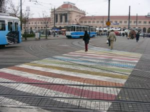 Zagreb - central train station and tram stop
