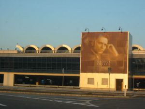 Bucharest Airport with George Enescu Banner