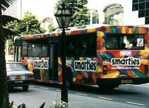 Colorful ad bus