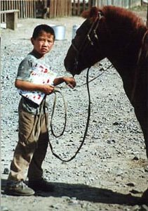 Boy with horse and book