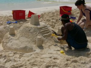 Mexico, Cancun - resort beach sand castle
