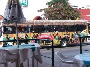 Mexico, Cancun - colorful bus service