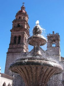 Morelia - church fountain