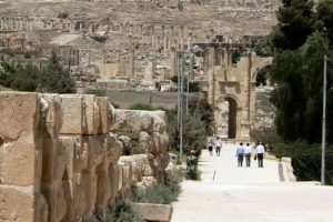 Approaching Hadrian's Arch at ancient Jerash Jerash is