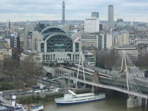 View of Charing Cross train station and Hungerford Bridge