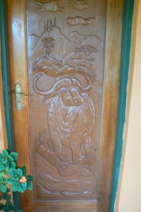 Carved door at a B&B