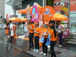 Thailand, Bangkok - promotional staff for a health drink