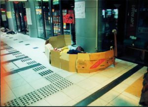 Surprising to see are the box beds for homeless people