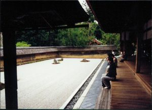 Kyoto: Ryoan-ji temple with its famous 'karesansui' (dry landscape) rock