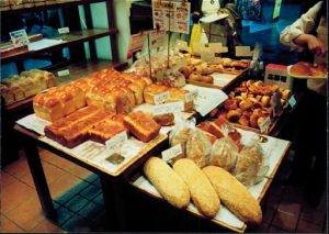 Food is in abundance in the bakeries.