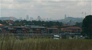 Distant view of Joburg from the suburbs.