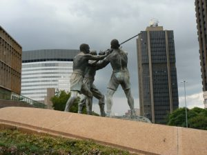 Sculpture of gold miners.