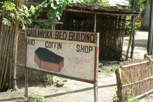 Bed and coffin shop in Mangochi market.