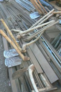 Hand made hoes at the Lilongwe market.