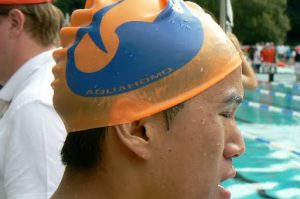 Swim cap with logo (San Francisco?)
