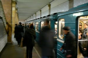 Subway traffic at Park Kultury station