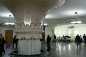 Huge neo-classic column in a subway station