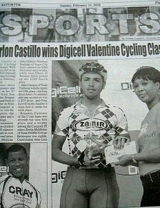 Newspaper article about local bicycle race