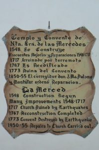 History plaque of Merced church