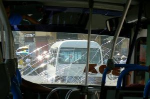 Public bus windshield