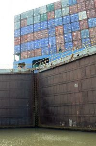 Huge cargo ship inside a lock
