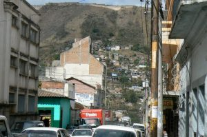 Tegucigalpa is built on hills; the streets are narrow and