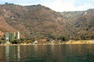 New condo towers on the shoreline of Lake Atitlan