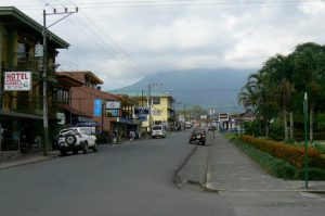 Entering the town of LaFortuna