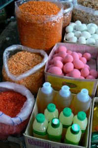 Colorful food goods for sale