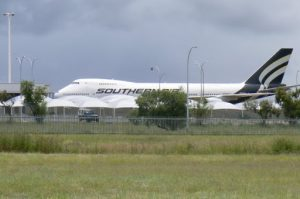A huge B747 cargo plane is used to ship in