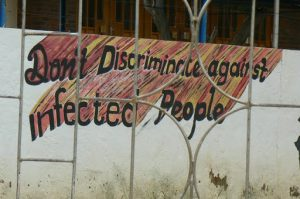 Painted wall posters in a primary school yard in Mariental