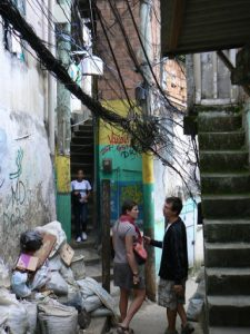 Alleyway in Rocinha with tangled wires