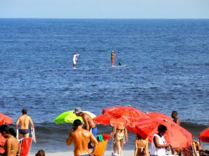 Brazil - Rio - Ipanema Beach  paddle boarders along the