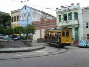 Brazil - Rio City - trolley arriving in Santa Terese