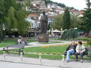 Macedonia, Ohrid City - central park with saint statue