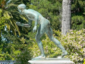 Greece, Corfu Island, Achilieion Palace; bronze youth