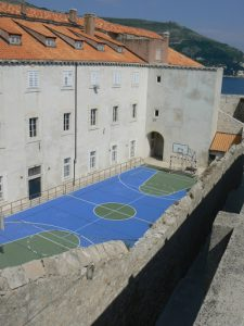 Croatia, Dubrovnik: view of school and play yard from the