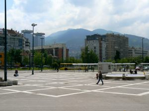 Bosnia-Herzegovina, Sarajevo City: train station plaza