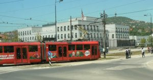 Bosnia-Herzegovina, Sarajevo City: trolley in front of USA embassy