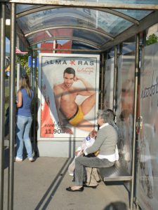 Bosnia-Herzegovina, Sarajevo City: bus stop with risque underwear poster
