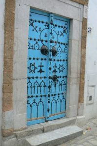 Many doors in the medina are decorated with patterns of