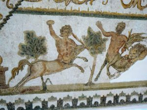 Tunisia: Bardo Museum mosaic detail of centaurs, one being attacked and