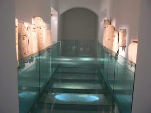 Tunisia: Bardo Museum glass floor entry to sarcophagi rooms